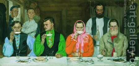 Tea Party by Andrei Petrovich Ryabushkin - Reproduction Oil Painting