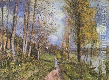 Near the Seine at By by Alfred Sisley - Reproduction Oil Painting