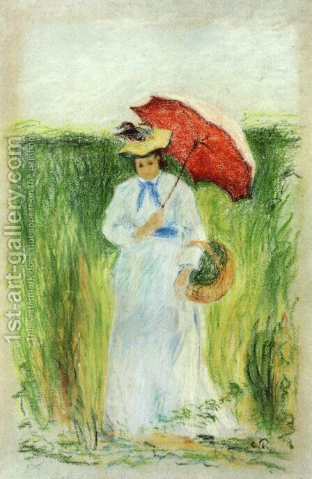 Young Woman with an Umbrella by Camille Pissarro - Reproduction Oil Painting
