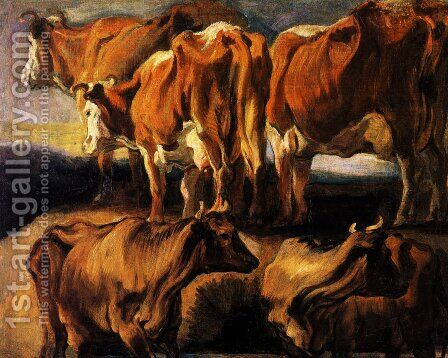 Five studies of cows by Jacob Jordaens - Reproduction Oil Painting