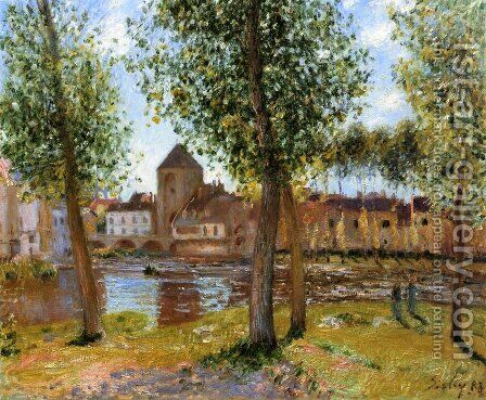 Poplars a Moret sur Loing, an August Afternoon by Alfred Sisley - Reproduction Oil Painting