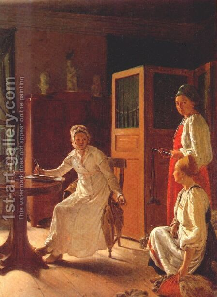 Morning of the Landlady by Aleksei Gavrilovich Venetsianov - Reproduction Oil Painting