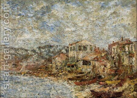 Seascape Near Marseille (Fantastic Village) by Adolphe Joseph Thomas Monticelli - Reproduction Oil Painting