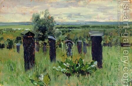 Landscape with beehives by Isaak Ilyich Levitan - Reproduction Oil Painting