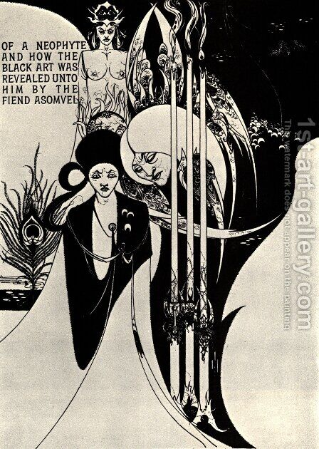 Of a Neophyte and how the Black Art was revealed unto him by Aubrey Vincent Beardsley - Reproduction Oil Painting