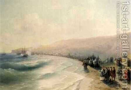 Arrival Catherine the Second to Pheodosiya by Ivan Konstantinovich Aivazovsky - Reproduction Oil Painting