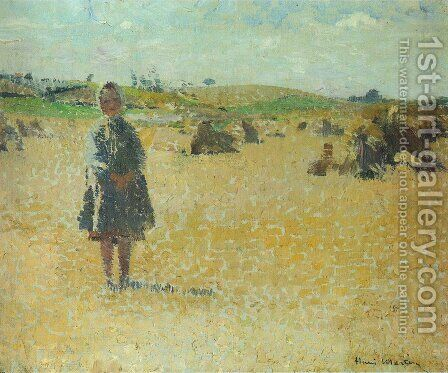 Young Girl in the Fields by Henri Martin - Reproduction Oil Painting
