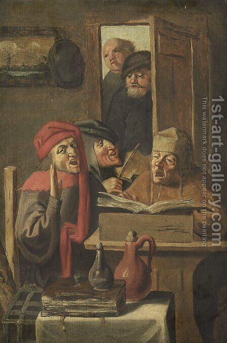 Musical company by Adriaen Brouwer - Reproduction Oil Painting