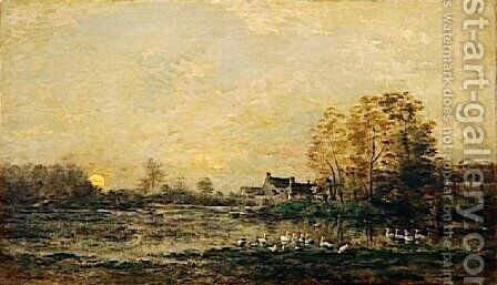 The bog in the sunset by Charles-Francois Daubigny - Reproduction Oil Painting