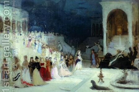 Ballet scene by Ilya Efimovich Efimovich Repin - Reproduction Oil Painting