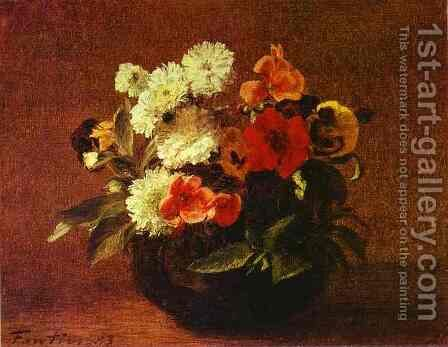 Flowers in an Earthenware Vase by Ignace Henri Jean Fantin-Latour - Reproduction Oil Painting