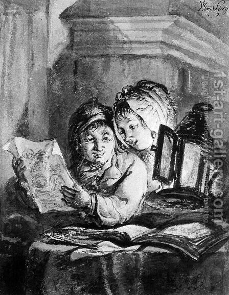 Boy and girl looking at drawings by Abraham van, I Strij - Reproduction Oil Painting