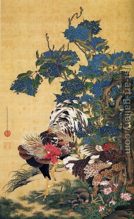 Rooster and Hen with Hydrangeas by Ito Jakuchu - Reproduction Oil Painting