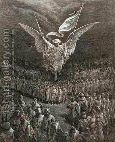 An angel leading the Crusaders to Jerusalem by Gustave Dore - Reproduction Oil Painting