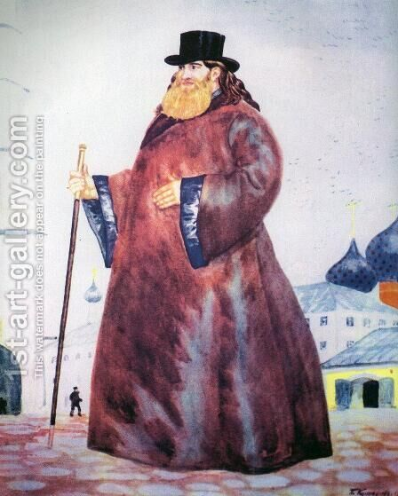 The priest by Boris Kustodiev - Reproduction Oil Painting