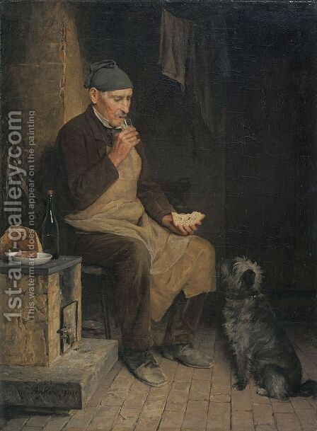 Old man taking a rest (Gyp) by Albert Anker - Reproduction Oil Painting