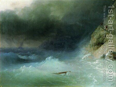 The Tempest near rocks by Ivan Konstantinovich Aivazovsky - Reproduction Oil Painting