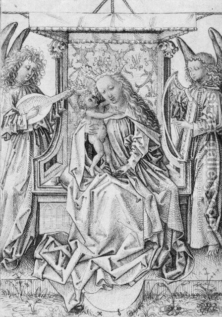 Madonna and Child with musical angels by Albrecht Durer - Reproduction Oil Painting