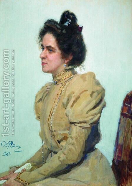 Portrait of actress Lyubov Sazonova-Shuvalova by Ilya Efimovich Efimovich Repin - Reproduction Oil Painting