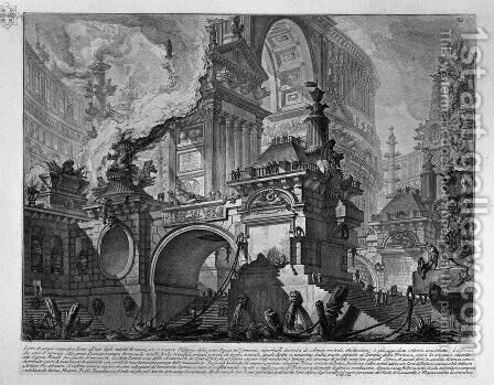 Large part of the magnificent doorway by Giovanni Battista Piranesi - Reproduction Oil Painting