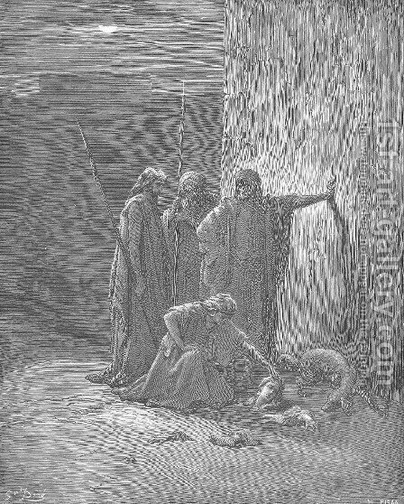 Jehu's Companions Find Jezebel's Remains by Gustave Dore - Reproduction Oil Painting