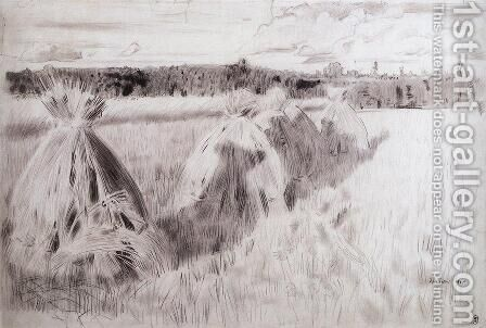 Field with sheaves by Boris Kustodiev - Reproduction Oil Painting