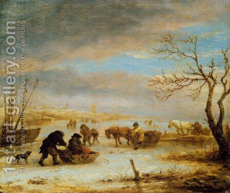 Frozen Ice Landscape with Carriages and Boats by Isaack Jansz. van Ostade - Reproduction Oil Painting
