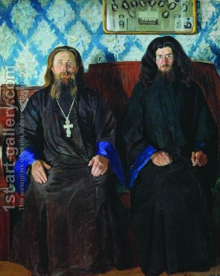 Portrait of a priest and a deacon by Boris Kustodiev - Reproduction Oil Painting