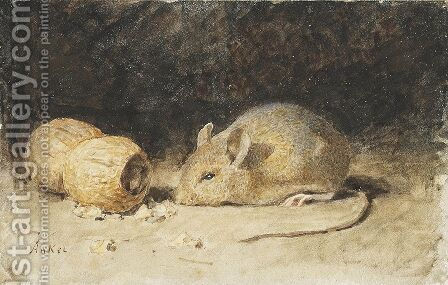 A mouse with a peanut by Albert Anker - Reproduction Oil Painting