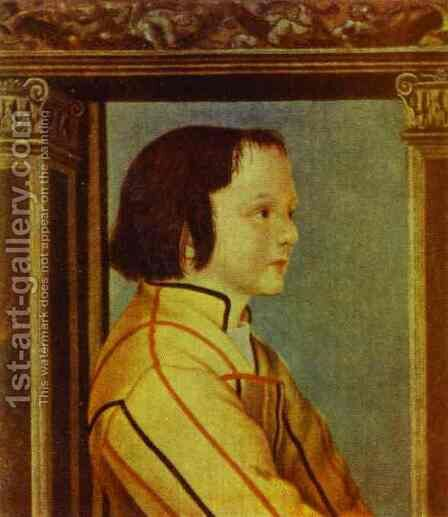 Portrait of a Boy with Chestnut Hair by Hans, the Younger Holbein - Reproduction Oil Painting