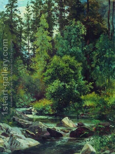 Forest River 3 by Ivan Shishkin - Reproduction Oil Painting