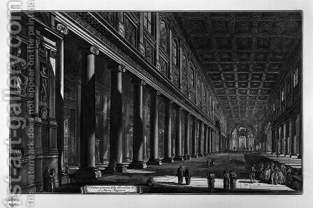View of the Basilica of St. Maria Maggiore and the two factories side of that Basilica by Giovanni Battista Piranesi - Reproduction Oil Painting