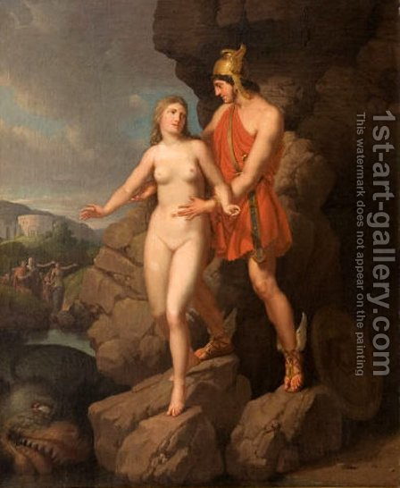 Perseus Delivering Andromeda by Christoffer Wilhelm Eckersberg - Reproduction Oil Painting