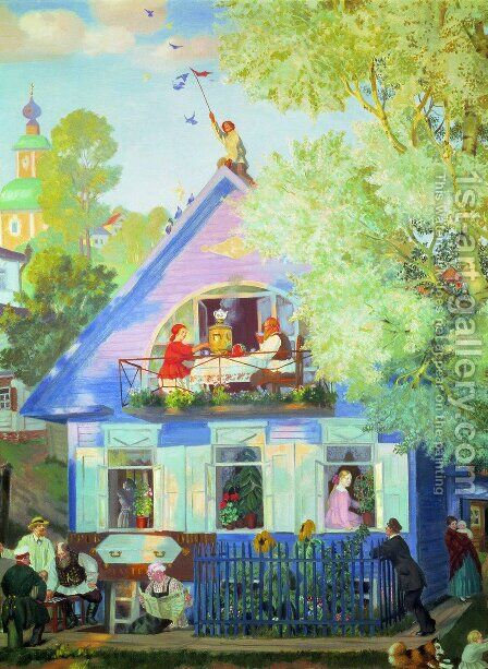 Blue House by Boris Kustodiev - Reproduction Oil Painting