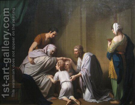 Jacob Blessing Ephraim and Manasseh by Benjamin West - Reproduction Oil Painting