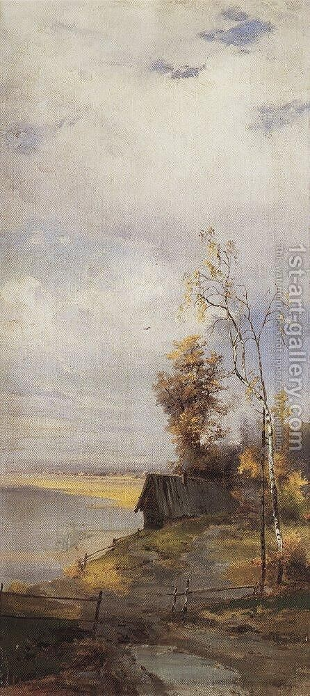 Landscape with a house by Alexei Kondratyevich Savrasov - Reproduction Oil Painting