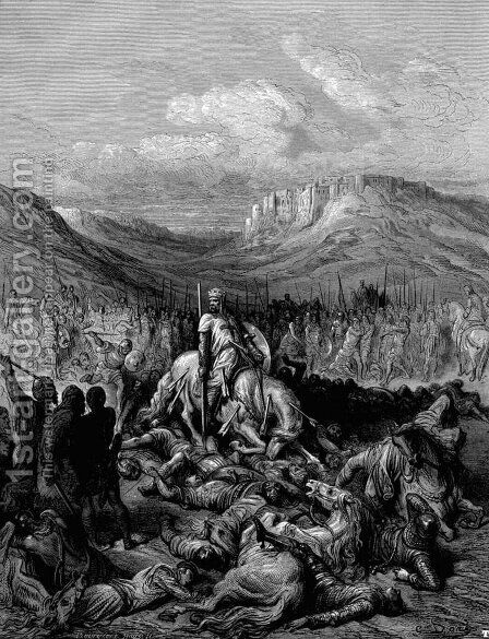 Glorious death of Jacques de Maille Marshal of the temple by Gustave Dore - Reproduction Oil Painting