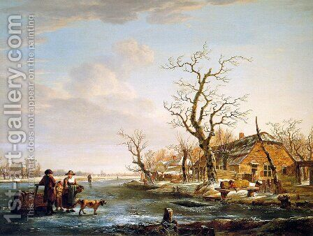 Winter landscape at Drevel by Jacob van Strij - Reproduction Oil Painting