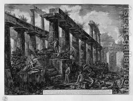 Remains of the Temple of Neptune's cell by Giovanni Battista Piranesi - Reproduction Oil Painting