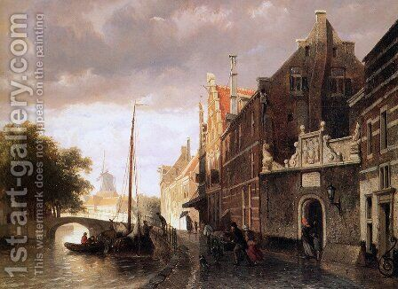 Weeshuis in Kampen by Cornelis Springer - Reproduction Oil Painting