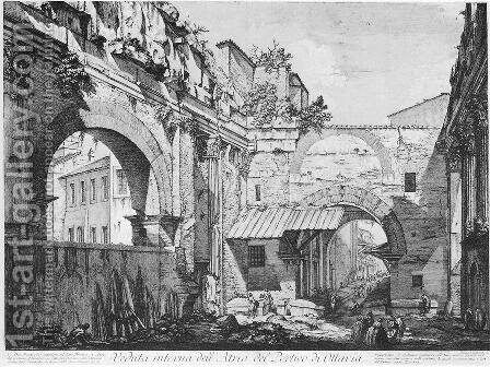 Veduta dell'Atrio del Portico di Ottavia by Giovanni Battista Piranesi - Reproduction Oil Painting