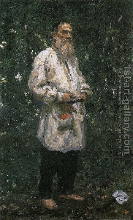 Leo Tolstoy barefoot by Ilya Efimovich Efimovich Repin - Reproduction Oil Painting