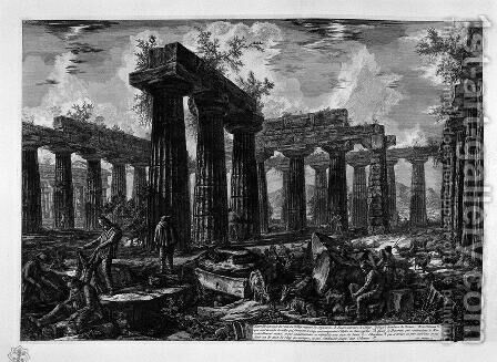 Temple of Neptune, interior 2 by Giovanni Battista Piranesi - Reproduction Oil Painting