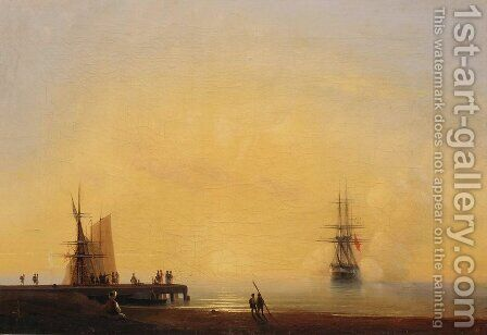 Evening. On the roads by Ivan Konstantinovich Aivazovsky - Reproduction Oil Painting