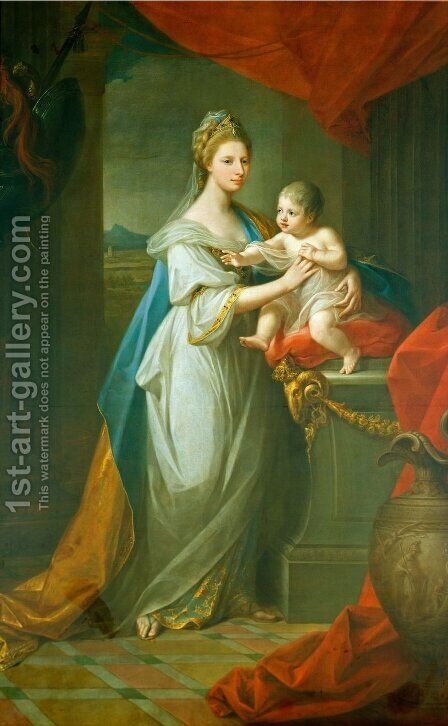 Portrait of Augusta of Hanover with her first born son Karl Georg of Brunswick by Angelica Kauffmann - Reproduction Oil Painting