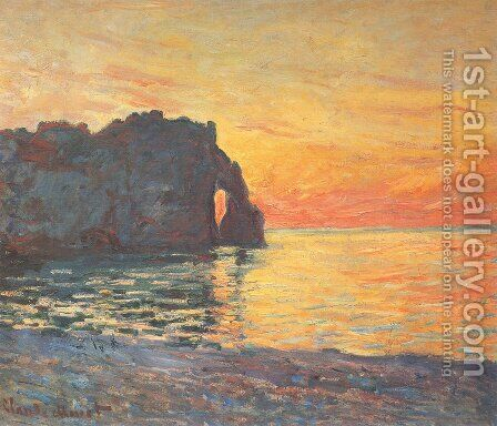 Etretat, Cliff of d'Aval, Sunset by Claude Oscar Monet - Reproduction Oil Painting