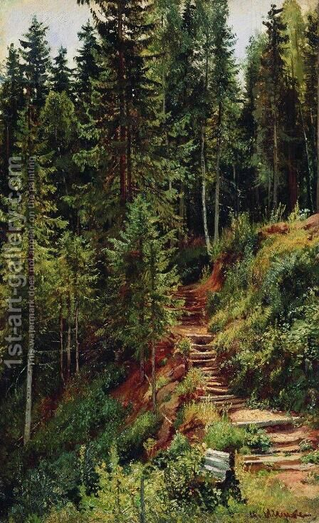 The path in the forest 2 by Ivan Shishkin - Reproduction Oil Painting