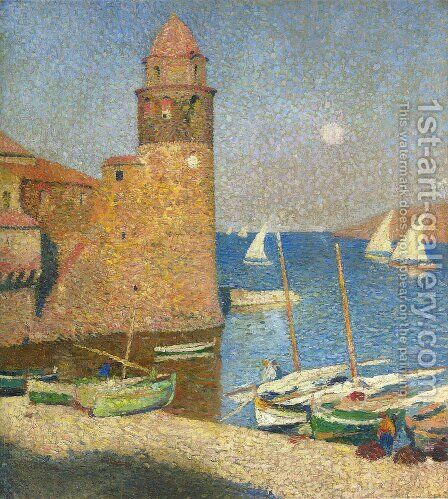 The Tower of Collioure in Moonrise by Henri Martin - Reproduction Oil Painting