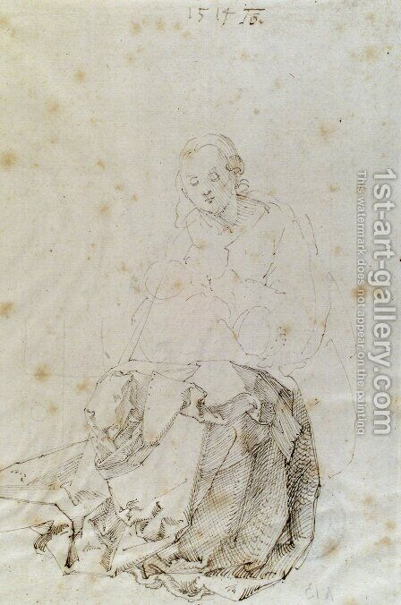 Sitting Mary with child by Albrecht Durer - Reproduction Oil Painting