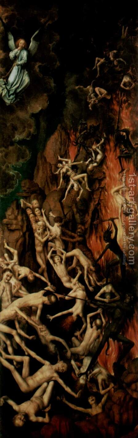 The Last Judgment, triptych, right wing Casting the Damned into Hell by Hans Memling - Reproduction Oil Painting